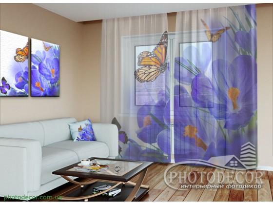 """3D ФотоТюль """"Бабочки и крокусы"""""""