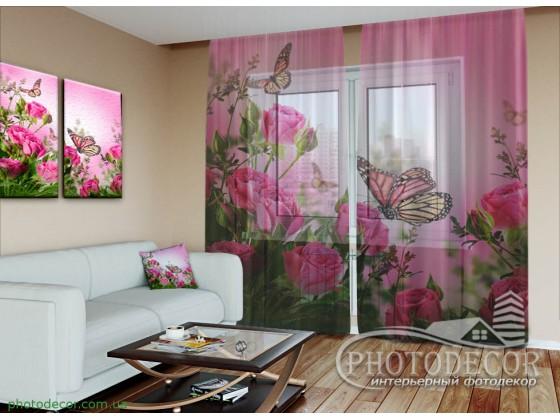 """3D ФотоТюль """"Бабочки и розовые розы"""""""