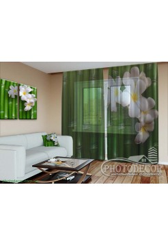 """3D ФотоТюль """"Бамбук и цветы"""""""
