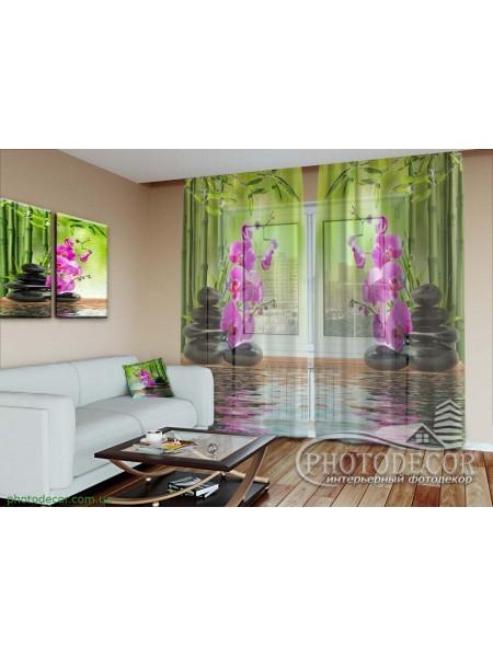 """3D Фото Тюль """"Бамбук и малиновые орхидеи на камнях"""""""