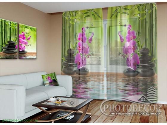 3D Фото Тюль с Орхидеями. Изготовление под индивидуальный размер на семи видах ткани и пяти видах крепления