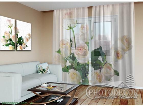 """3D ФотоТюль """"Букет белых роз"""""""