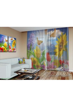 """3D ФотоТюль """"Цветы и бабочки"""""""