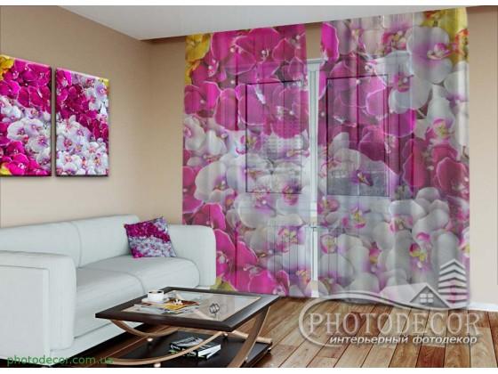 """3D ФотоТюль """"Ковер из орхидей"""""""