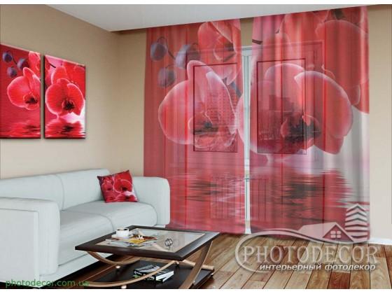 """3D ФотоТюль """"Красные орхидеи"""""""