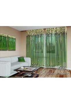 """3D Фото Тюль """"Ламбрекены из цветов и листьев"""""""