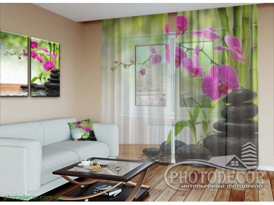 """3D ФотоТюль """"Малиновая орхидея и бамбук"""""""