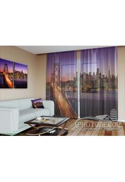 """3D ФотоТюль """"Мост на закате в Калифорнии"""""""