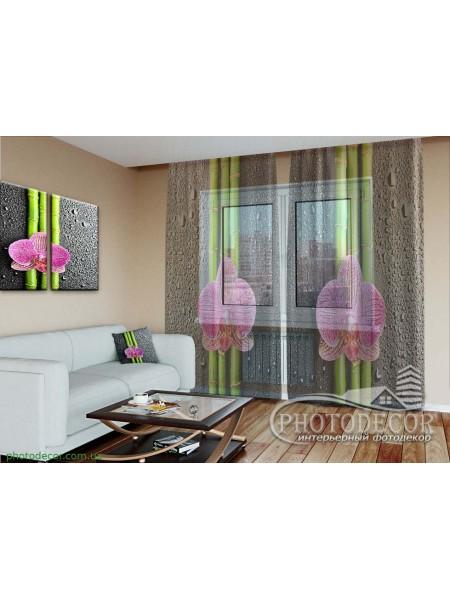 """3D ФотоТюль """"Орхидеи и бамбук"""""""