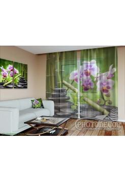 """3D ФотоТюль """"Орхидеи и бамбук на камнях"""""""