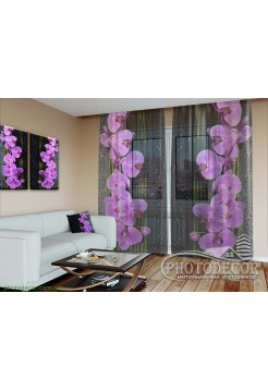 """3D ФотоТюль """"Орхидея на черном"""""""