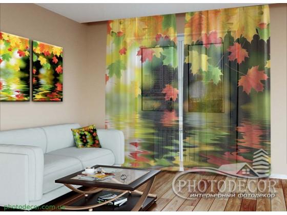 """3D Фото Тюль """"Осенние листья"""""""