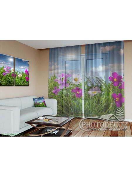 """3D ФотоТюль """"Полевые яркие цветы"""""""