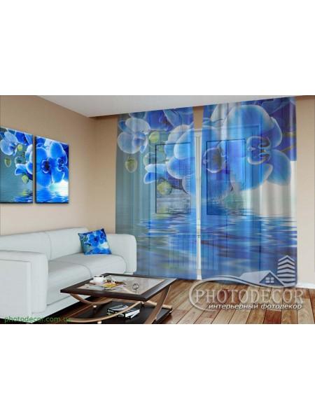 """3D ФотоТюль """"Синие орхидеи"""""""