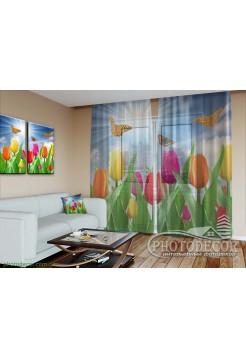 "3D ФотоТюль ""Тюльпаны с бабочками"""