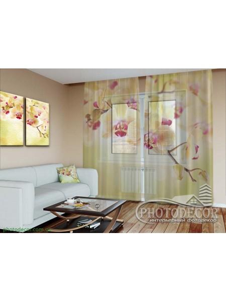 """3D ФотоТюль """"Золотистые орхидеи"""""""