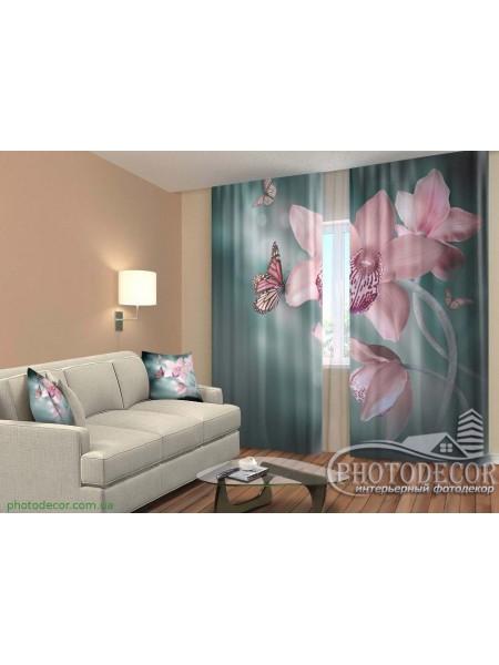 """3D ФотоШторы """"Орхидеи и бабочки"""""""