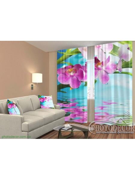 """3D ФотоШторы """"Орхидеи отражение в воде"""""""