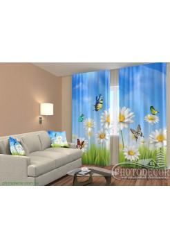 """3D ФотоШторы """"Бабочки и ромашки"""""""