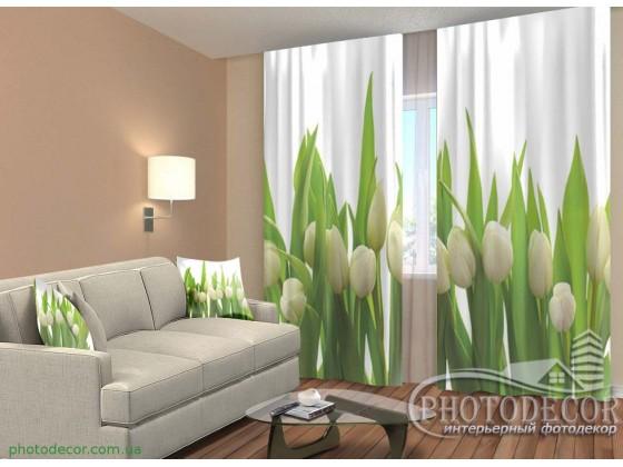 "3D ФотоШторы ""Белые тюльпаны"""