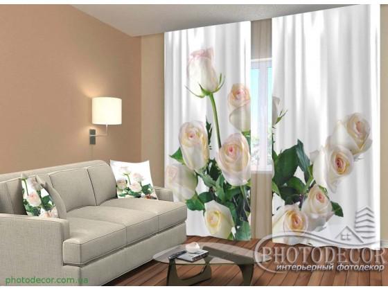 """3D ФотоШторы """"Букет белых роз"""""""