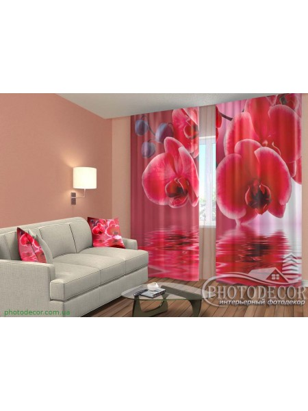 """3D ФотоШторы """"Красные орхидеи"""""""