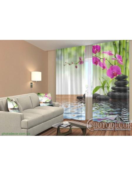 """3D ФотоШторы """"Малиновые орхидеи и камни"""""""