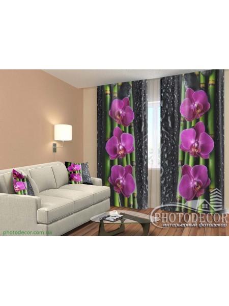 """3D ФотоШторы """"Малиновые орхидеи и бамбук"""""""
