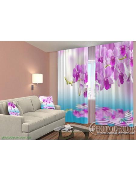 """3D ФотоШторы """"Малиновые орхидеи над водой"""""""