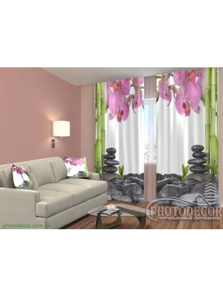 """3D ФотоШторы """"Орхидеи и бамбук"""""""