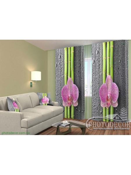 """3D ФотоШторы """"Орхидеи и бамбук 2"""""""