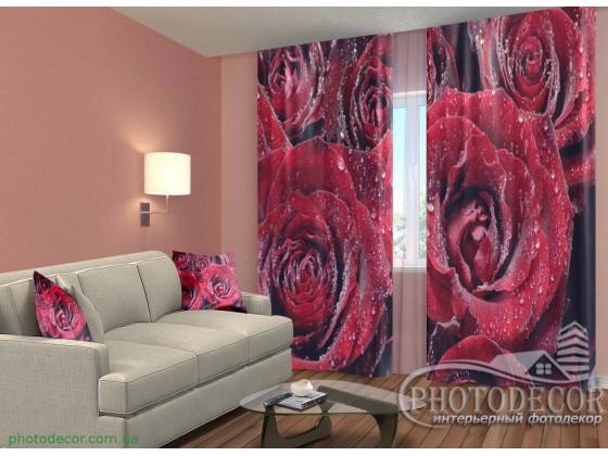 "3D ФотоШторы ""Роса  на розах"""