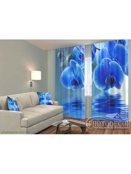 """3D ФотоШторы """"Синие орхидеи"""""""