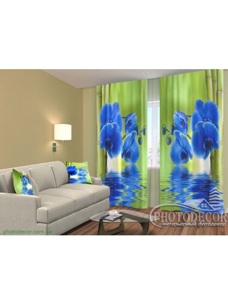 """3D ФотоШторы """"Синие орхидеи и бамбук"""""""