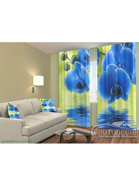 """3D ФотоШторы """"Синие орхидеи на желтом"""""""