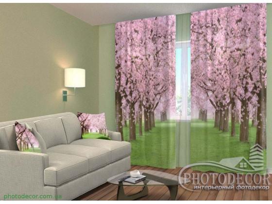 """ФотоШторы """"Зеленая аллея с цветущими деревьями"""""""