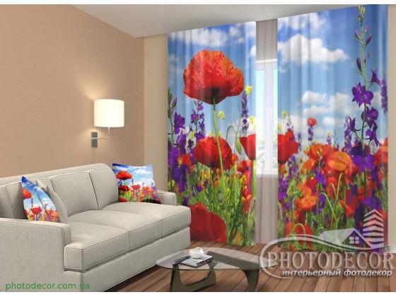 """3D ФотоШторы """"Маки и полевые цветы"""""""