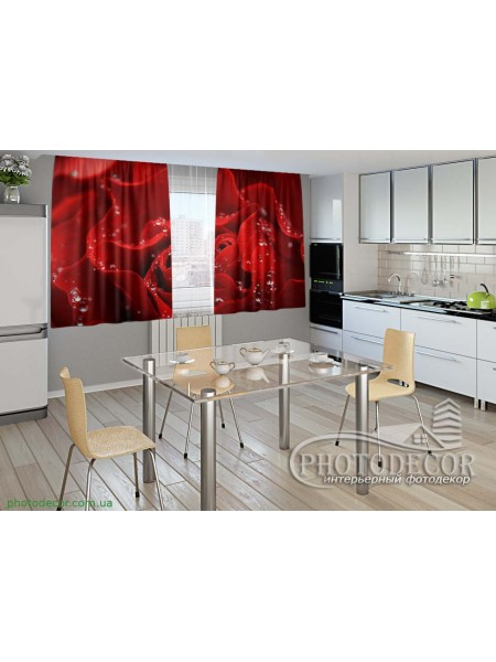 "Фото шторы для кухни ""Алая роза"""