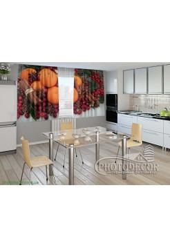 """Фото шторы для кухни """"Апельсины и корица"""""""