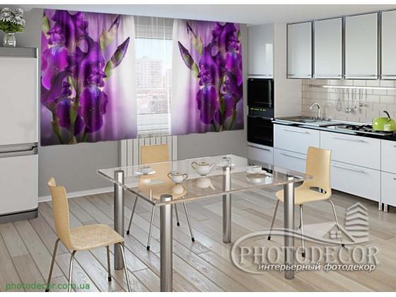 """Фото шторы для кухни """"Бархатные ирисы"""""""