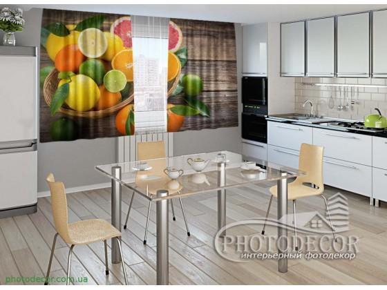 """Фото шторы для кухни """"Цитрусовые фрукты"""""""