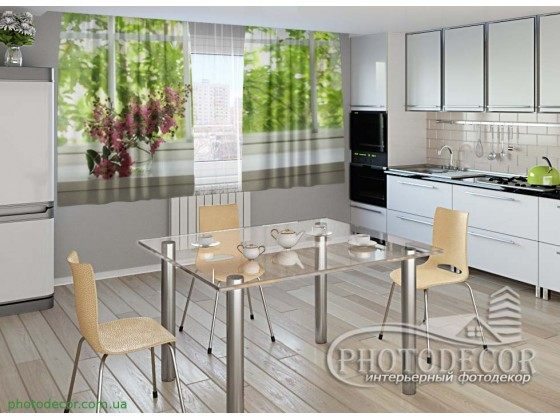"Фото шторы для кухни ""Цветок на подоконнике"""