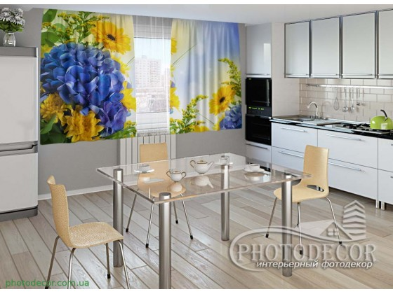 """Фото шторы для кухни """"Цветы"""""""