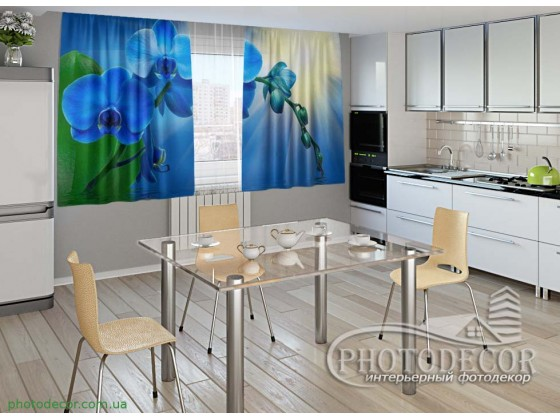 """Фото шторы для кухни """"Голубые орхидеи"""""""