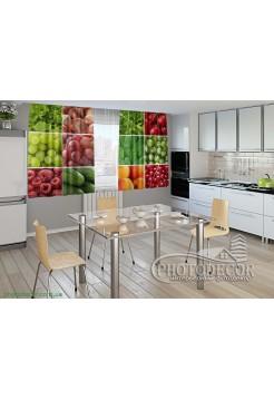 """Фото шторы для кухни """"Ягоды и орехи"""""""