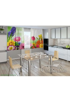 """Фото шторы для кухни """"Яркие цветы"""""""