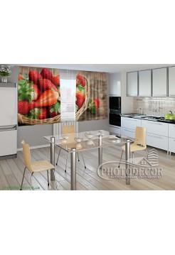"""Фото шторы для кухни """"Клубника в корзине"""""""
