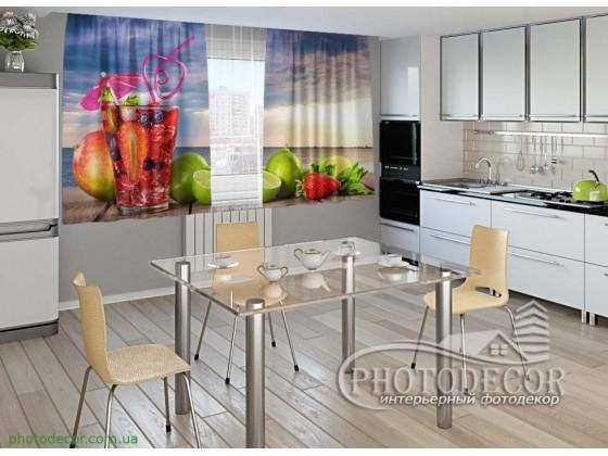 """Фото шторы для кухни """"Коктейль и фрукты"""""""