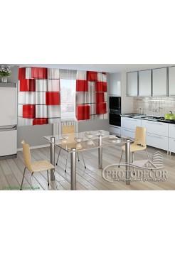 """Фото шторы для кухни """"Красный куб"""""""