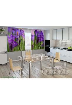 """Фото шторы для кухни """"Крокусы"""""""